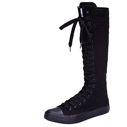 High Sneaker Boot - rismart Girls Women Fashion Knee High Lace-Up Canvas Boots Pure Black Zip Dance Boots 801 US5.5