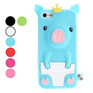 3D Design Cute Pig Pattern Soft Case for iPhone 5/5S (Assorted Colors) Lightning Sale --- COLOR:Green