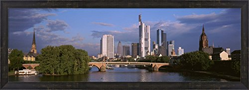 Cityscape, Alte Bridge, Rhine River, Frankfurt, Germany by Panoramic Images Framed Art Print Wall Picture, Espresso Brown Frame, 38 x 14 inches (River Framed Rhine)