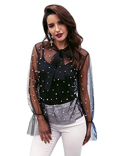 Sheer Mesh Cami - Glamaker Womens 2 Piece Camis See Through Sheer Mesh Pearls Tops Set Blouse for Summer,Black,Large