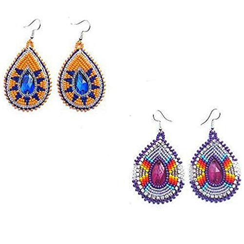 La Vivia Handmade Beaded Indian Jewelry Purple Orange Beads Beaded Inspired Native Style Earrings Combo Pack of 2 E-60-SB-1617