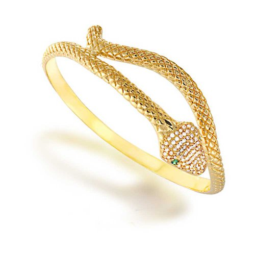 (Egyptian Serpent Style Wrap Snake Green Eye CZ Bypass Bangle Bracelet for Women 14K Gold Plated Bras)
