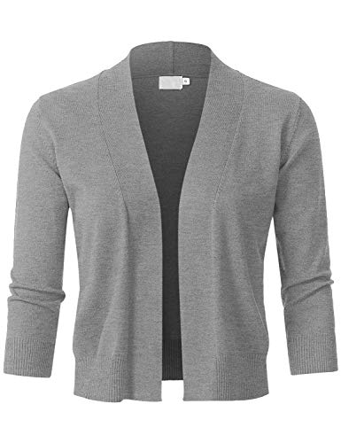Cable Bolero - JSCEND Womens Classic 3/4 Sleeve Open Front Cropped Bolero Cardigan HeatherGray M