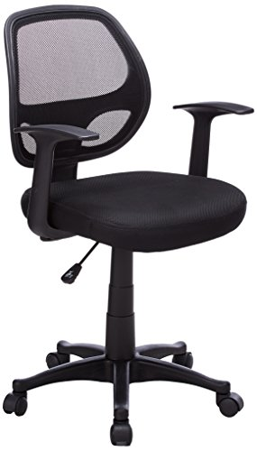 - Flash Furniture Mid-Back Black Mesh Swivel Task Chair with Arms