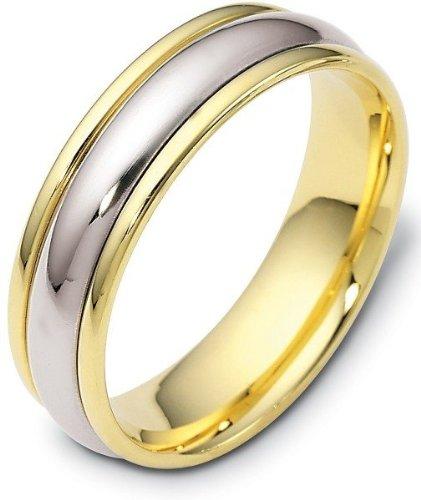 - Titanium & 18 Karat Yellow Gold 6mm Classic Wedding Band Ring - 5