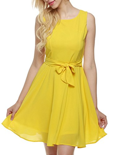 OURS Women's Summer Sleeveless Chiffon Pleated Cocktail Party Dress With Belt (M, Yellow)
