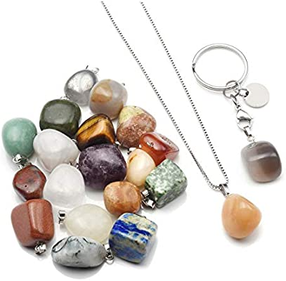 a41a47de2680 JSDDE - Juego de 20 colgantes de piedras preciosas de cristal curativo con  5 llaveros y 5 accesorios de cadena de collar