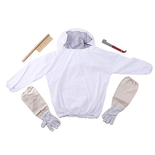 (1 Set Beekeeper Workwear Beekeeping Jacket Veil Smock Bee Keeping Hat Sleeve Suit Uniforms Protective Safety Clothing)
