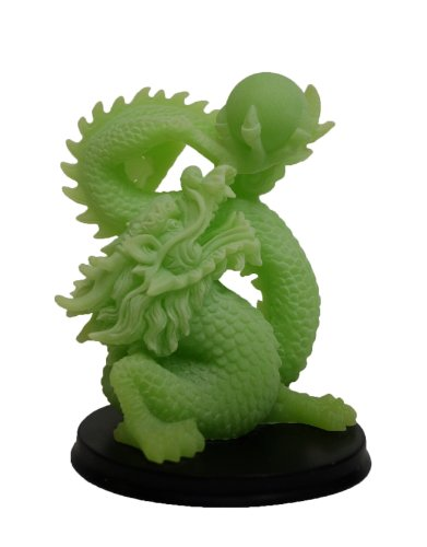 Glow in the Dark Feng Shui Dragon Holding Ball in Light Green Finish