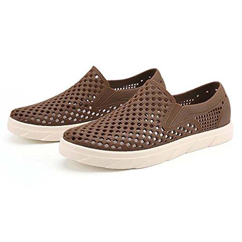 ZXCV Zapatos al aire libre El agujero de los hombres calza los zapatos de los hombres respirable al aire libre planos Marrón