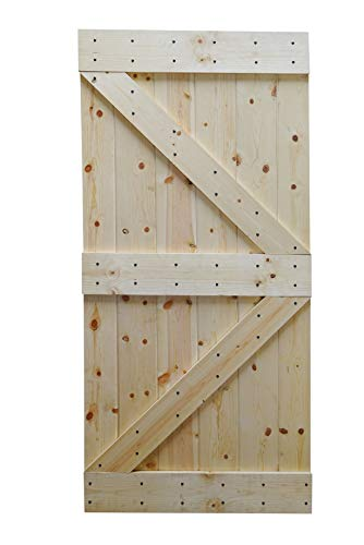 WELLHOME K Series DIY Unfinished Knotty Pine Wood Interior Barn Door  (Wood, 38 in. x 84 in)