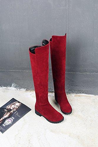 Aisun Damen Runde Zehen Plateau Blockabsatz Martin Boots Sexy Overknee Langschaft Stiefel Rot 39 EU V2vX96K0