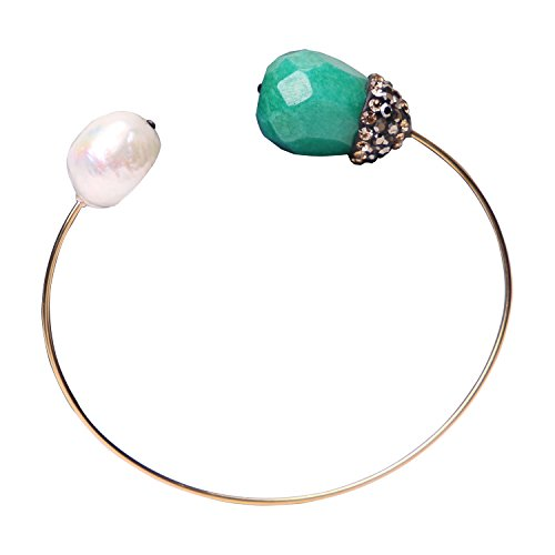 - Stainless Steel White Freshwater Pearls Cuff Bracelets with Green Natural Faceted Stones