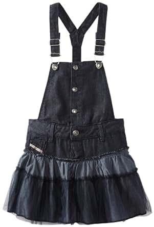 Diesel Little Girls' Drissy Mixed Raw And Light Weight Denim Overall Dress, Indigo, X-Small