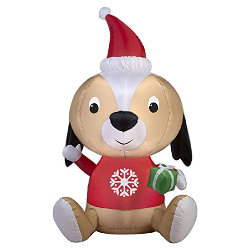 Christmas Inflatable 5' Puppy With Santa Hat & Snowflake Sweater Holding Gift By Gemmy by Gemmy