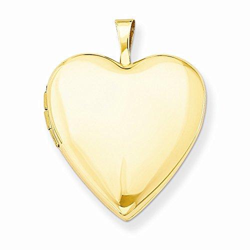 14K Yellow Gold 20mm Plain Polished Heart Locket