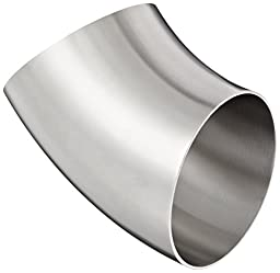 Dixon B2WK-R400P Stainless Steel 316L Sanitary Fitting, 45 Degree Polished Weld Short Elbow, 4\