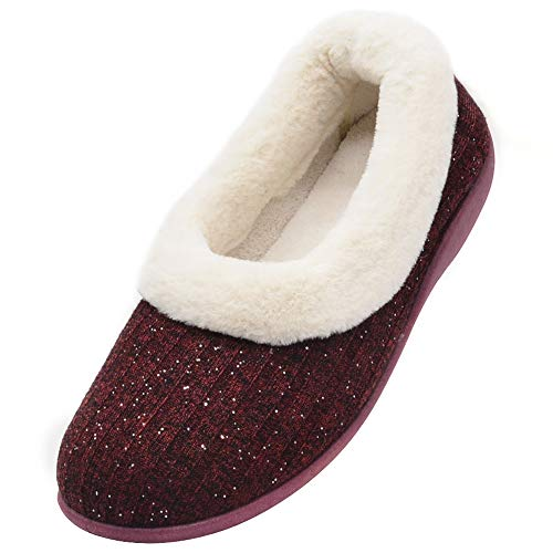 Wishcotton Women's Knitted Cotton Memory Foam Slippers Fuzzy Collar Fleece Lined Outdoor Indoor House Shoes (8 B(M) US, Wine Red)