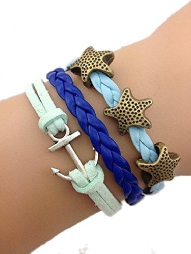 Bracelet bleu ancre de bateau et étoile de mer bronze