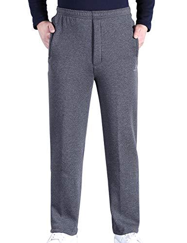 Zoulee Men's Front Zip Open-Bottom Sports Pants Sweatpants Trousers Fleece Grey M