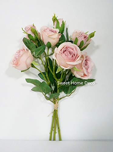Sweet Home Deco, 17'' Silk Cabbage Rose, Artificial Floral Bunch, Single Stems, Wedding/Home/Party Decorations, Realistic Roses (Purple - Sweet Cabbage