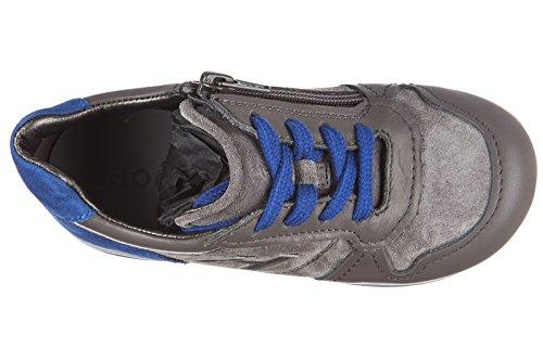 Hogan scarpe sneakers bimbo bambino camoscio nuove elective h flock zip grigio