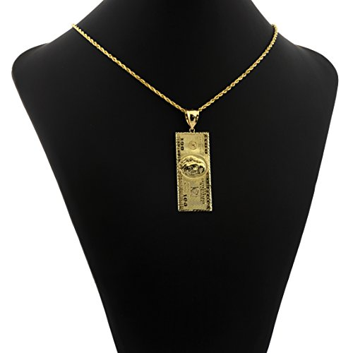 LoveBling 10K Yellow Gold Hundred Dollar Bill Diamond Cut Charm Pendant (2.60'' x 0.85'') by LOVEBLING (Image #1)