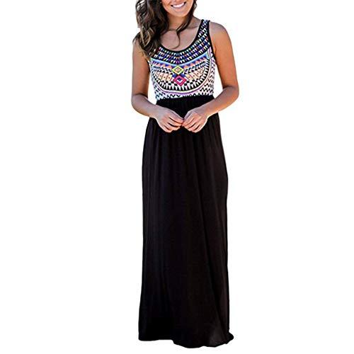 Loosebee Women's Sleeveless Print Summer Beach Dress Casual Maxi Long Dresses