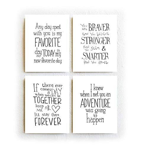 Winnie The Pooh Quotes - Set of Four Prints, Black and White Typography Print On 8.5