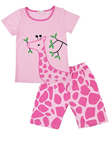 (DHASIUE Pajamas Girls' Short Sleeve Top and Pants Pajama Set Toddler Sleepwear Kid PJs Size 1-7)