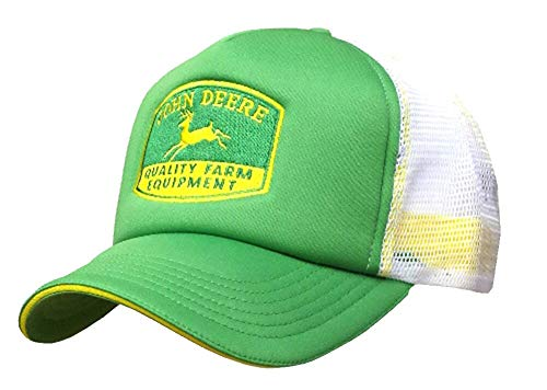 John Deere Embroidered Logo Mesh Back Foam Trucker Hat - One-Size - Men's - John Deere Green