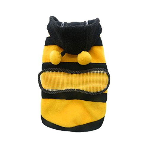 Pet Hoodie Clothes Dog Cat Warm Coat Puppy Apparel Cute Fancy Bee Costume Outfit - L
