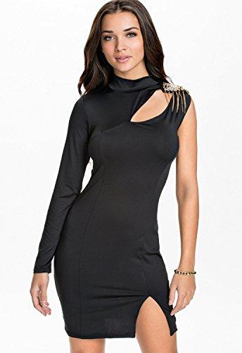 Señoras negro un hombro bodycon vestido club wear fiesta crucero Prom Vestido de noche tamaño UK 10–�?2EU 38–�?0