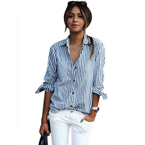 Women Striped T Shirt, Misaky Long Sleeve Loose Blouse Casual Tops (L, Blue)