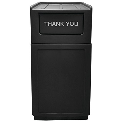 Hubert Trash Receptacle Garbage Can with Tray Top Lid 39 Gallon Black - 21 1/2 L x 14 1/2 W x 49