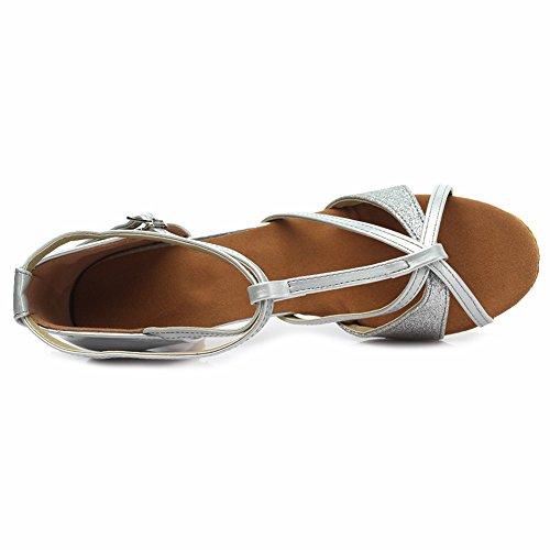 HROYL Mujer Zapatos de Baile Latino Cuero Cordón Salón de Baile 255 Plateado