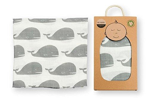 Milkbarn Baby Organic Muslin Swaddle Blanket - Grey Whale ()
