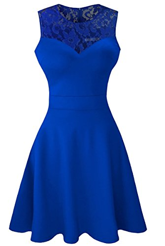 Sylvestidoso Women's A-Line Sleeveless Pleated Little Blue Cocktail Party Dress with Floral Lace (L, Blue)