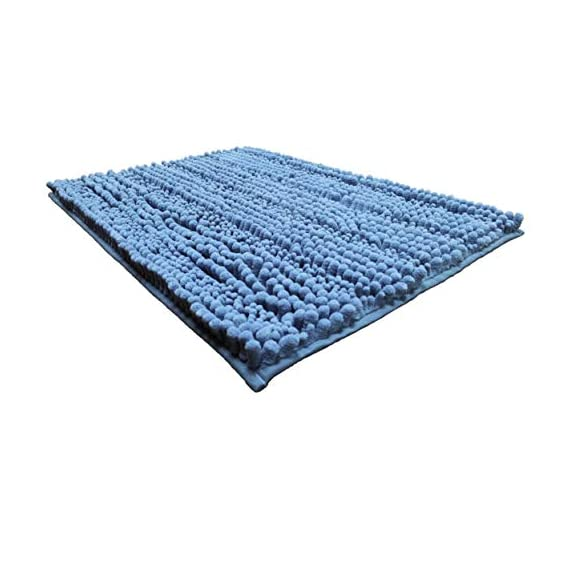 Polyte Premium Microfiber Shaggy Chenille Bath Mat Non Slip, 20 x 32 in / 17 x 24 in, Set of 2 (Blue) - Experience the plush and super soft feeling of our microfiber shag bath mat Ultra-absorbent chenille microfiber captures water, preventing a slippery wet floor Keeps your feet comfortable, cozy, and protected from the hard cold floor - bathroom-linens, bathroom, bath-mats - 41m0S07jGZL. SS570  -