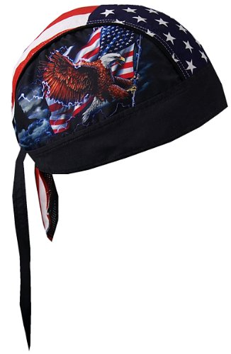Patriotic Flying Colors - Hot Leathers HWH1017 Flag and Eagle Head Wrap (Black)