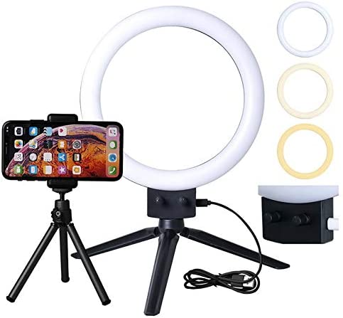 oineke Kshioe Infinite Dimming Double Color Temperature LED Ring Lamp and Mini Tabletop Tripod US Standard