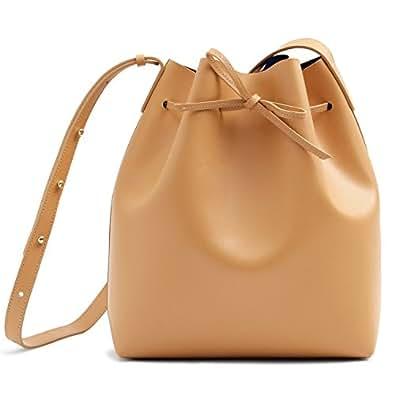 LUX DENIA BUCKET BAG Beige Blue Genuine Leather Womens Korea Handbag 6Colors