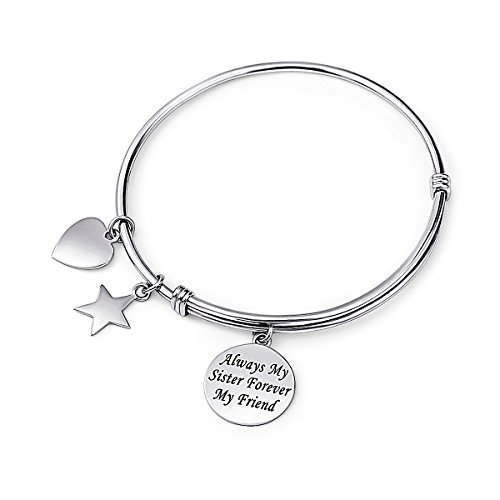 Sister Gift 925 Sterling Silver Always my Sister Forever my Friend Adjustable Bangle Bracelet, 7.5'' by Silver Light Jewelry