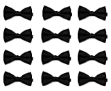 Men's Solid Color 12pc - 48pc - 96pc Banded Bow Ties- Black- (600 Pieces)