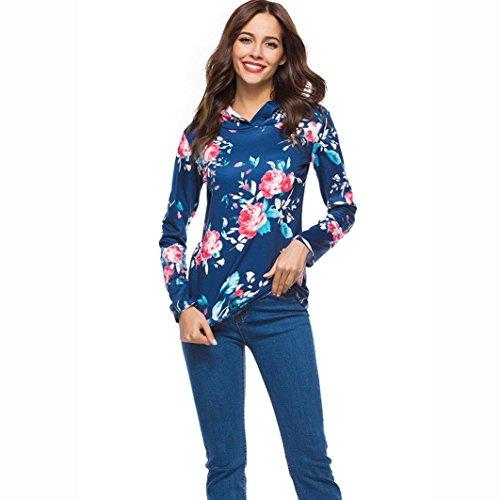 Imprim Capuchon Femme Casual Chemisier Blouse Manche Sexy Shirt Grande Tops Fonc LGante Taille Chic Longue Bleu T zvqrFxtz
