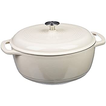 AmazonBasics Enameled Cast Iron Covered Dutch Oven, 4.3-Quart, White