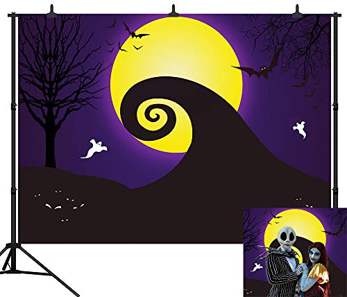 Nightmare Before Christmas Wedding Decorations (DePhoto 7X5FT Halloween Backdrop Pumpkin Lantern Yellow Moon Ghost Bat Seamless Vinyl Photography Photo Background Studio Prop)
