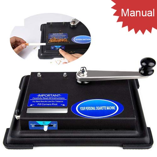 Tomasar Hand Operation Cigarette Rolling Machine, Small Cigarette Roller Making Tobacco Machine (King Size, 100mm Tubes, Regular) (Black) ()