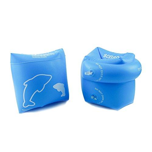 MERRINESS 높은 질감 암 링 어린이 성인 (70kg 이하) 암 도우미 튜브 팔 튜브 펌프 양팔 물놀이 여름 방학 팔찌 바다 수영장 수영 보조 귀여운 우기원 유아 PVC 수영 용품 2 개 세트 (블루) /  핑크