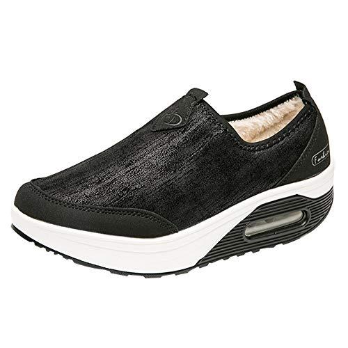 Nevera Ladies Slip On Breathe Mesh Walking Shoes Women Fashion Sneakers Comfort Wedge Platform Loafers Black